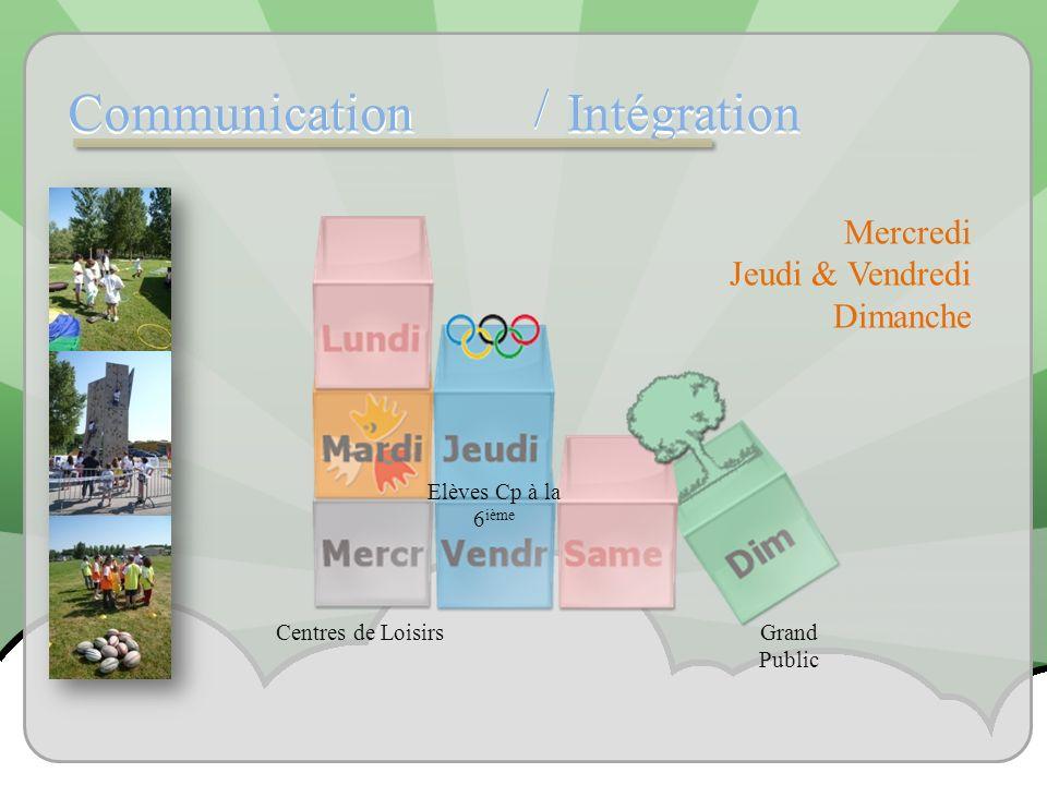 Communication Intégration / / Mercredi Jeudi & Vendredi Dimanche Centres de Loisirs Elèves Cp à la 6 ième Grand Public