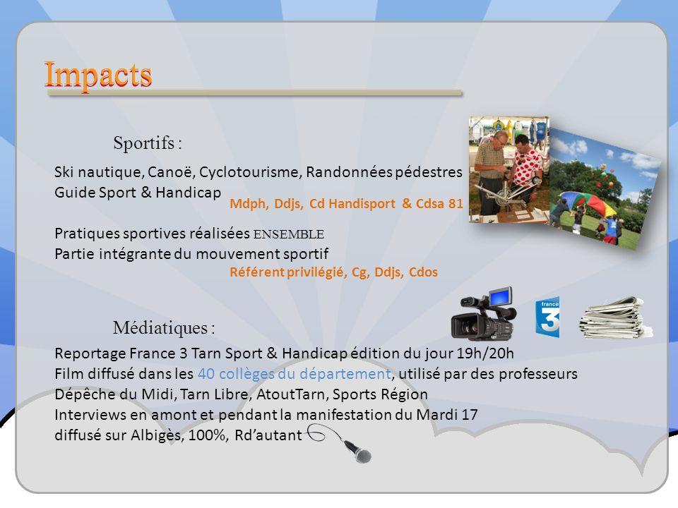 Sportifs : Reportage France 3 Tarn Sport & Handicap édition du jour 19h/20h Film diffusé dans les 40 collèges du département, utilisé par des professeurs Dépêche du Midi, Tarn Libre, AtoutTarn, Sports Région Interviews en amont et pendant la manifestation du Mardi 17 diffusé sur Albigès, 100%, Rdautant Médiatiques : Référent privilégié, Cg, Ddjs, Cdos Ski nautique, Canoë, Cyclotourisme, Randonnées pédestres Guide Sport & Handicap Pratiques sportives réalisées ENSEMBLE Partie intégrante du mouvement sportif Mdph, Ddjs, Cd Handisport & Cdsa 81