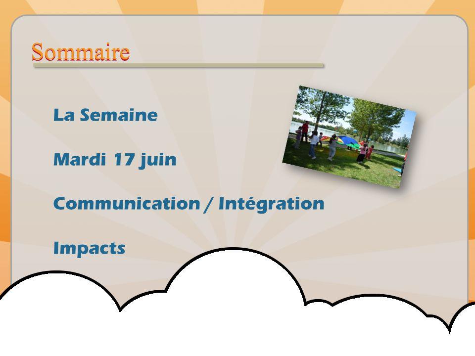 Sommaire La Semaine Mardi 17 juin Communication / Intégration Impacts