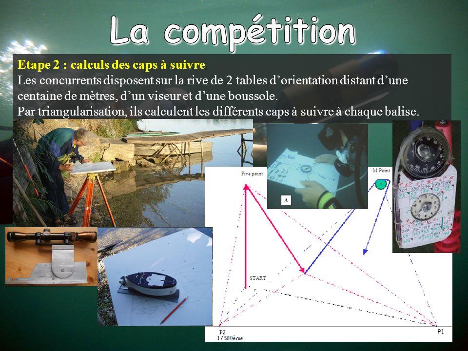 Etape 2 : calculs des caps à suivre Les concurrents disposent sur la rive de 2 tables dorientation distant dune centaine de mètres, dun viseur et dune boussole.