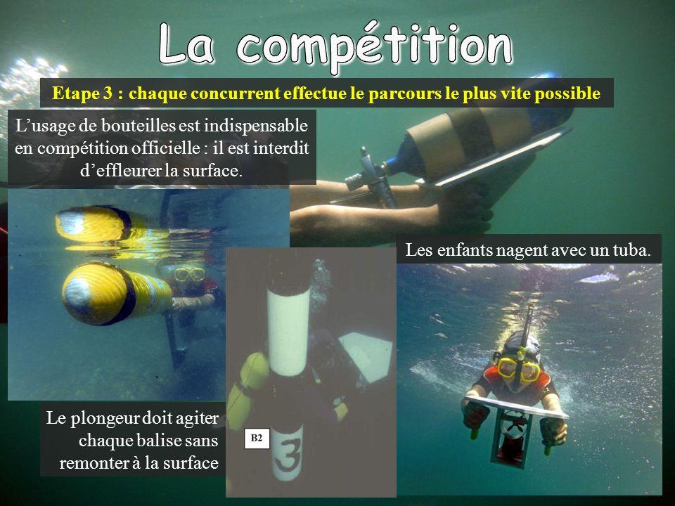 Etape 3 : chaque concurrent effectue le parcours le plus vite possible Les enfants nagent avec un tuba.