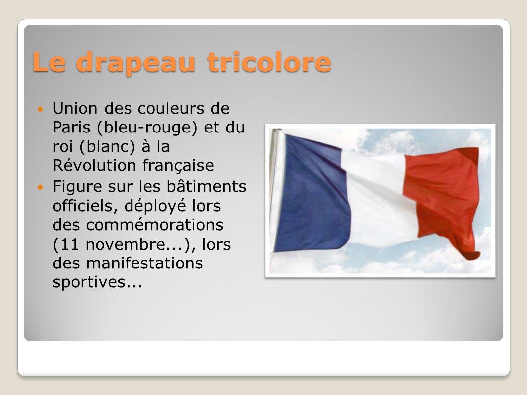 Le drapeau tricolore Union des couleurs de Paris (bleu-rouge) et du roi (blanc) à la Révolution française Figure sur les bâtiments officiels, déployé lors des commémorations (11 novembre...), lors des manifestations sportives...