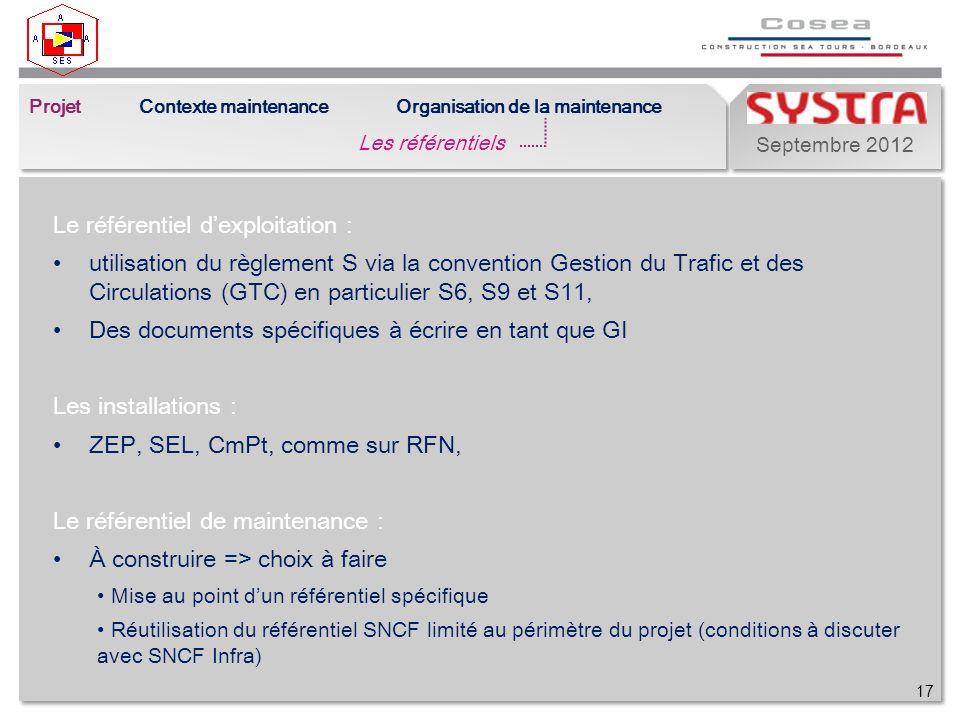Septembre 2012 Le référentiel dexploitation : utilisation du règlement S via la convention Gestion du Trafic et des Circulations (GTC) en particulier S6, S9 et S11, Des documents spécifiques à écrire en tant que GI Les installations : ZEP, SEL, CmPt, comme sur RFN, Le référentiel de maintenance : À construire => choix à faire Mise au point dun référentiel spécifique Réutilisation du référentiel SNCF limité au périmètre du projet (conditions à discuter avec SNCF Infra) 17 Projet Les référentiels Contexte maintenanceOrganisation de la maintenance