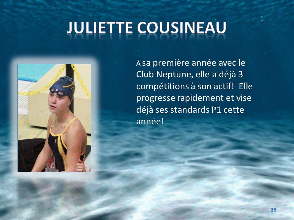 À sa première année avec le Club Neptune, elle a déjà 3 compétitions à son actif! Elle progresse rapidement et vise déjà ses standards P1 cette année!
