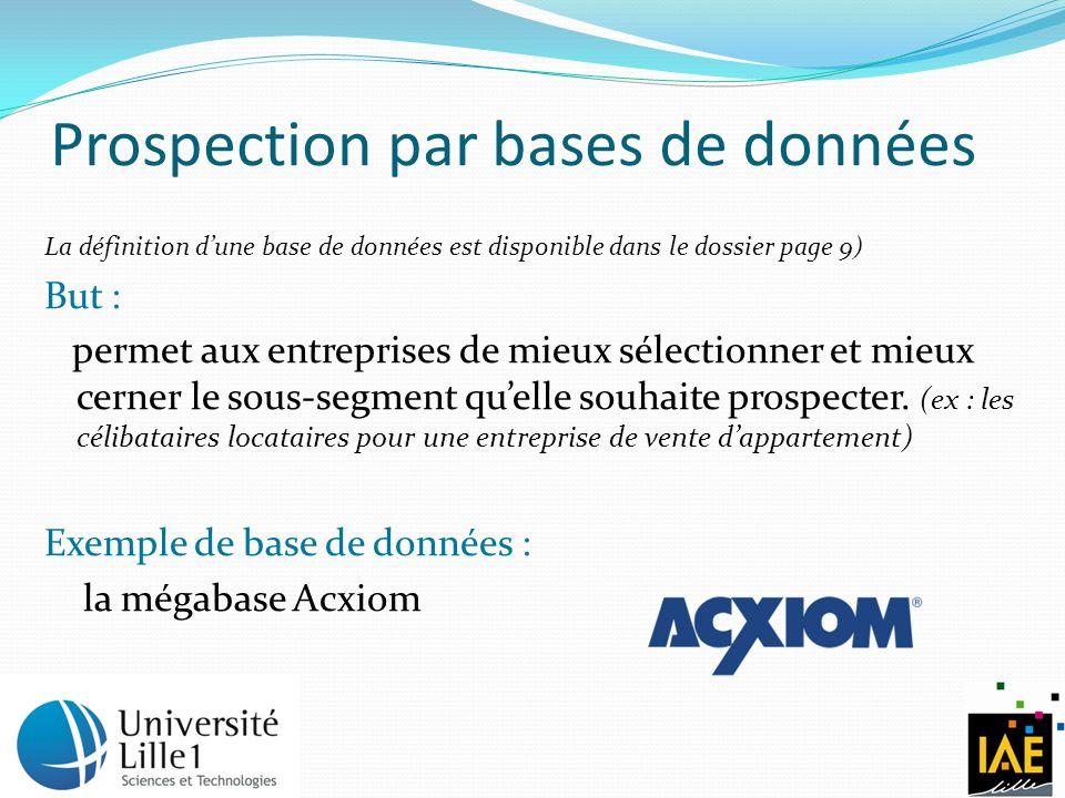 Prospection par bases de données La définition dune base de données est disponible dans le dossier page 9) But : permet aux entreprises de mieux sélectionner et mieux cerner le sous-segment quelle souhaite prospecter.