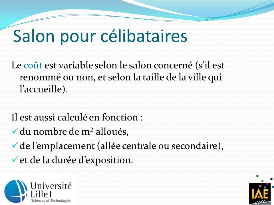 Salon pour célibataires Le coût est variable selon le salon concerné (sil est renommé ou non, et selon la taille de la ville qui laccueille).