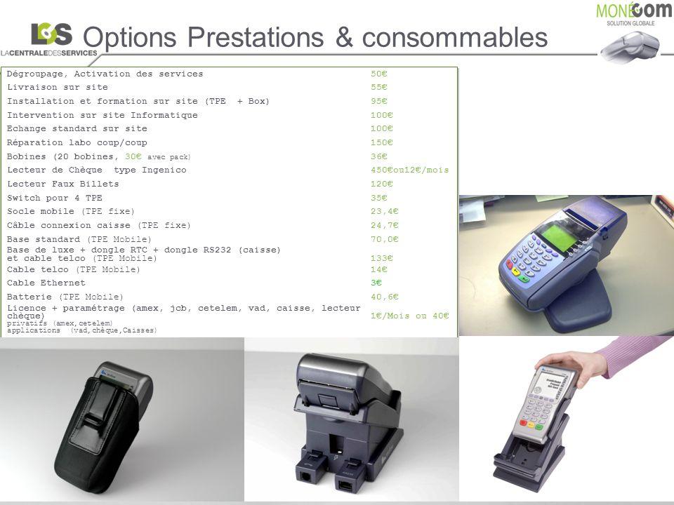 Options Prestations & consommables Dégroupage, Activation des services50 Livraison sur site 55 Installation et formation sur site (TPE + Box)95 Interv