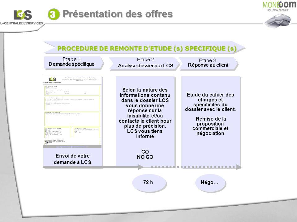 PROCEDURE DE REMONTE DETUDE (s) SPECIFIQUE (s) Envoi de votre demande à LCS Etape 1 Demande spécifique Etape 1 Demande spécifique Etape 3 Réponse au c