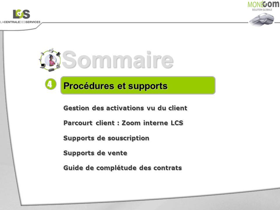 Sommaire Procédures et supports Gestion des activations vu du client Parcourt client : Zoom interne LCS Supports de souscription Supports de vente Gui