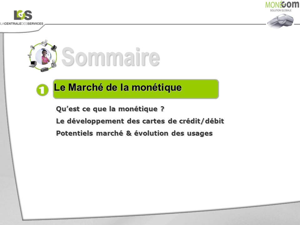 Sommaire Le Marché de la monétique Quest ce que la monétique ? Le développement des cartes de crédit/débit Potentiels marché & évolution des usages
