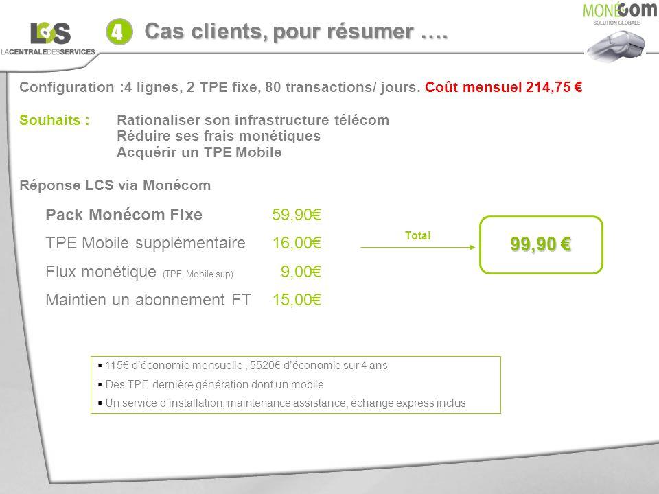 Cas clients, pour résumer …. Votre client : Configuration :4 lignes, 2 TPE fixe, 80 transactions/ jours. Coût mensuel 214,75 Souhaits : Rationaliser s