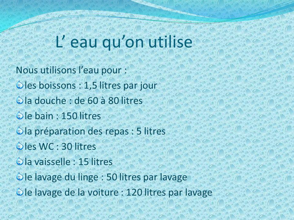 Leau et la vie quotidienne Dans la vie, leau est utilisée pour : la douche, le bain, les W C, le lavage du linge, la vaisselle, la cuisine, larrosage