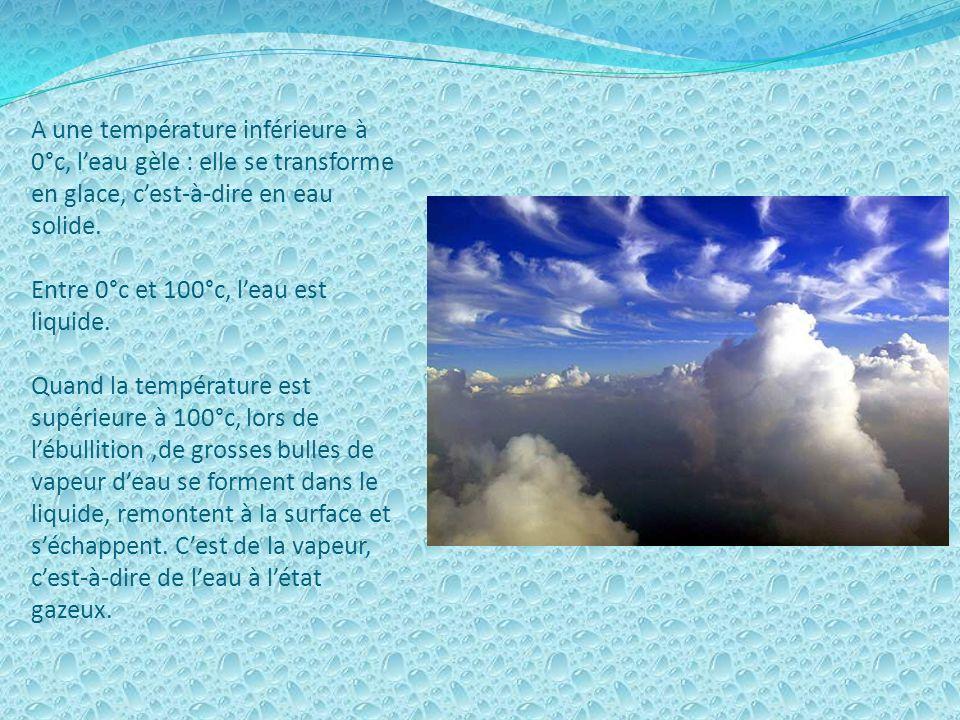 A une température inférieure à 0°c, leau gèle : elle se transforme en glace, cest-à-dire en eau solide.