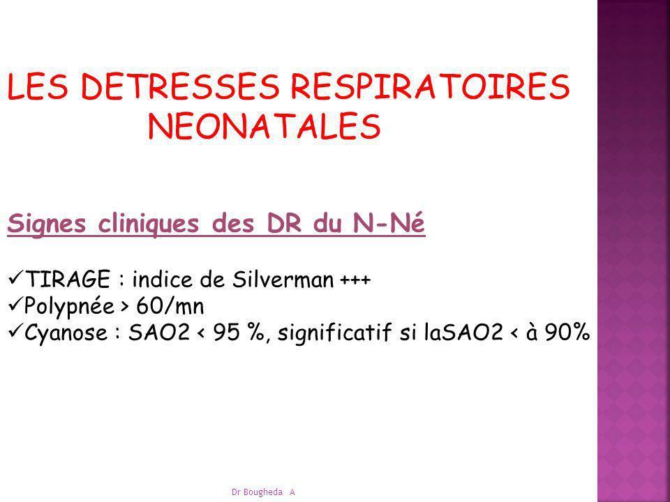 LES DETRESSES RESPIRATOIRES NEONATALES Signes cliniques des DR du N-Né TIRAGE : indice de Silverman +++ Polypnée > 60/mn Cyanose : SAO2 < 95 %, signif