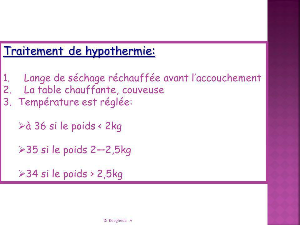 Dr Bougheda A Traitement de hypothermie: 1. Lange de séchage réchauffée avant laccouchement 2. La table chauffante, couveuse 3.Température est réglée: