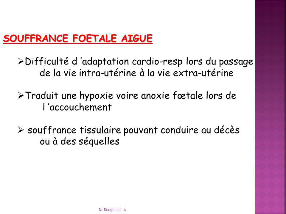 SOUFFRANCE FOETALE AIGUE : SOUFFRANCE FOETALE AIGUE : ETIOLOGIES Accouchements dystociques, disproportion foetomat Décollement placentaire, placenta prævia hémorragique, hémorragies fœtomat circulaires, nœuds, procidence du cordon Toxémie gravidique, HTA, éclampsie Infections fœto-maternelles ….