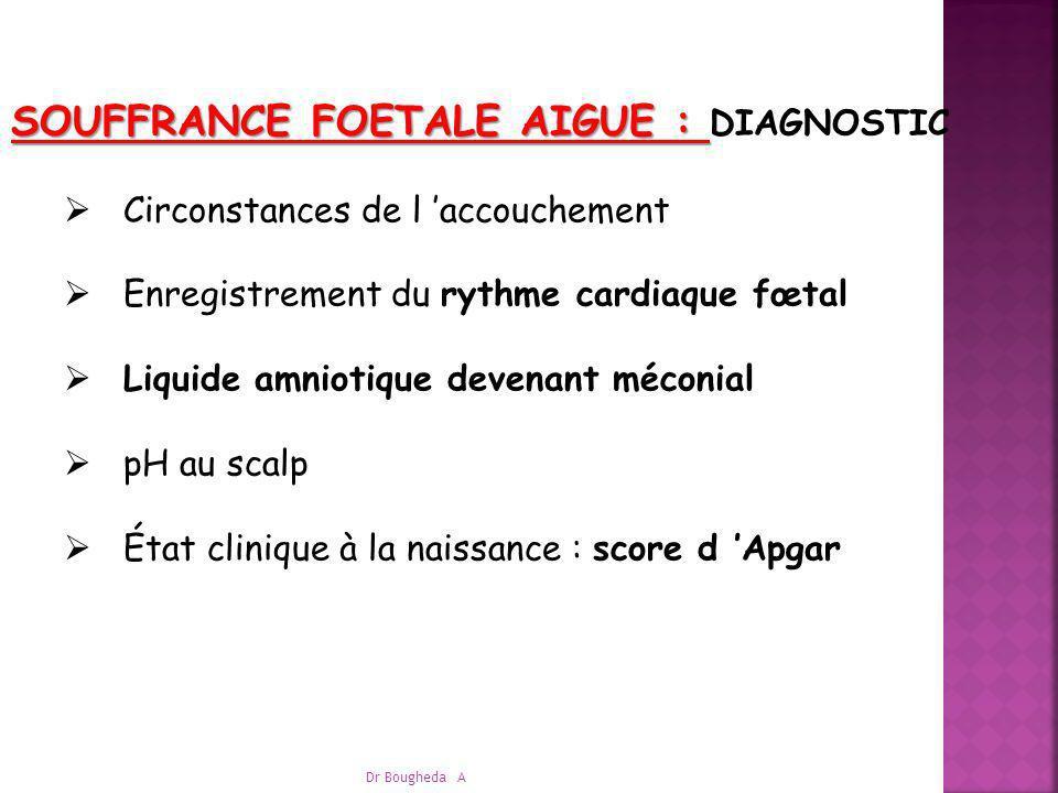 SOUFFRANCE FOETALE AIGUE : SOUFFRANCE FOETALE AIGUE : DIAGNOSTIC Circonstances de l accouchement Enregistrement du rythme cardiaque fœtal Liquide amni