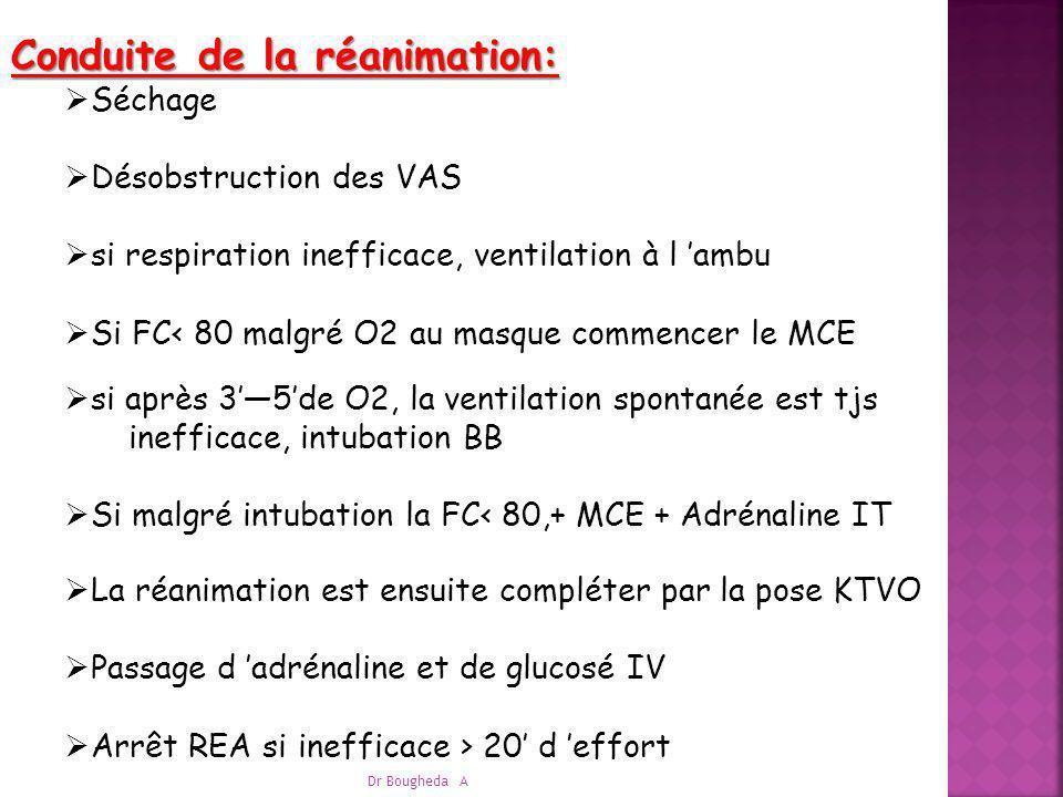Conduite de la réanimation: Séchage Désobstruction des VAS si respiration inefficace, ventilation à l ambu Si FC< 80 malgré O2 au masque commencer le