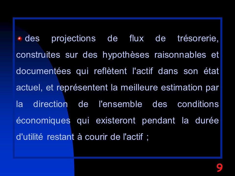 des projections de flux de trésorerie, construites sur des hypothèses raisonnables et documentées qui reflètent l'actif dans son état actuel, et repré