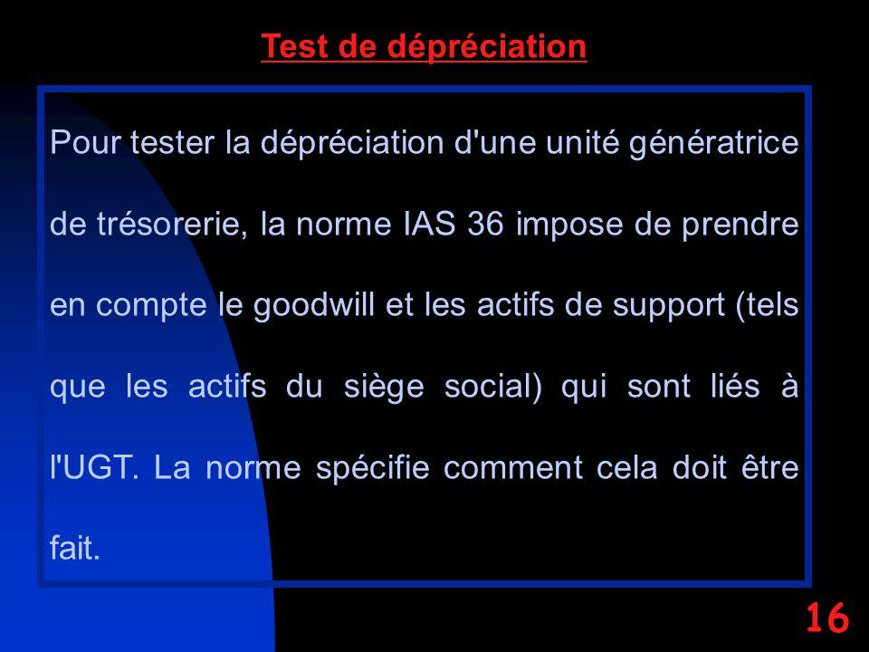 Pour tester la dépréciation d une unité génératrice de trésorerie, la norme IAS 36 impose de prendre en compte le goodwill et les actifs de support (tels que les actifs du siège social) qui sont liés à l UGT.