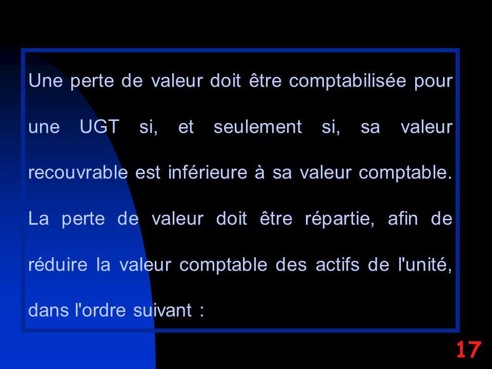 Une perte de valeur doit être comptabilisée pour une UGT si, et seulement si, sa valeur recouvrable est inférieure à sa valeur comptable. La perte de