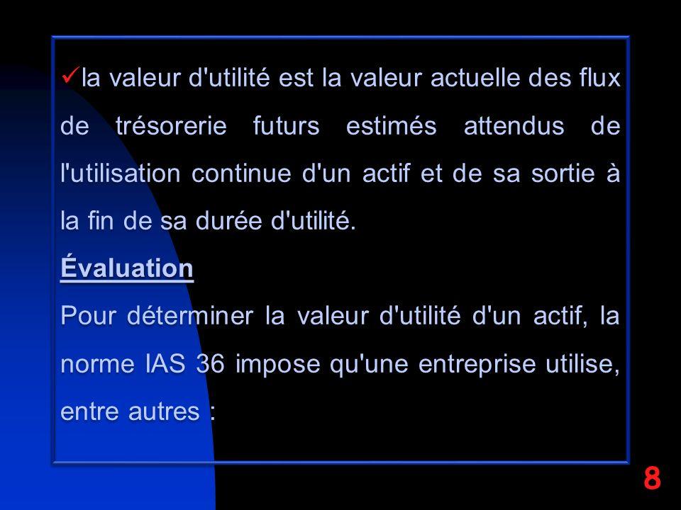la valeur d'utilité est la valeur actuelle des flux de trésorerie futurs estimés attendus de l'utilisation continue d'un actif et de sa sortie à la fi