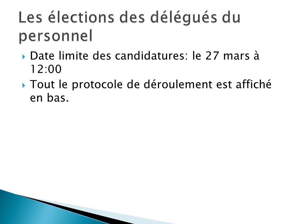 Date limite des candidatures: le 27 mars à 12:00 Tout le protocole de déroulement est affiché en bas.