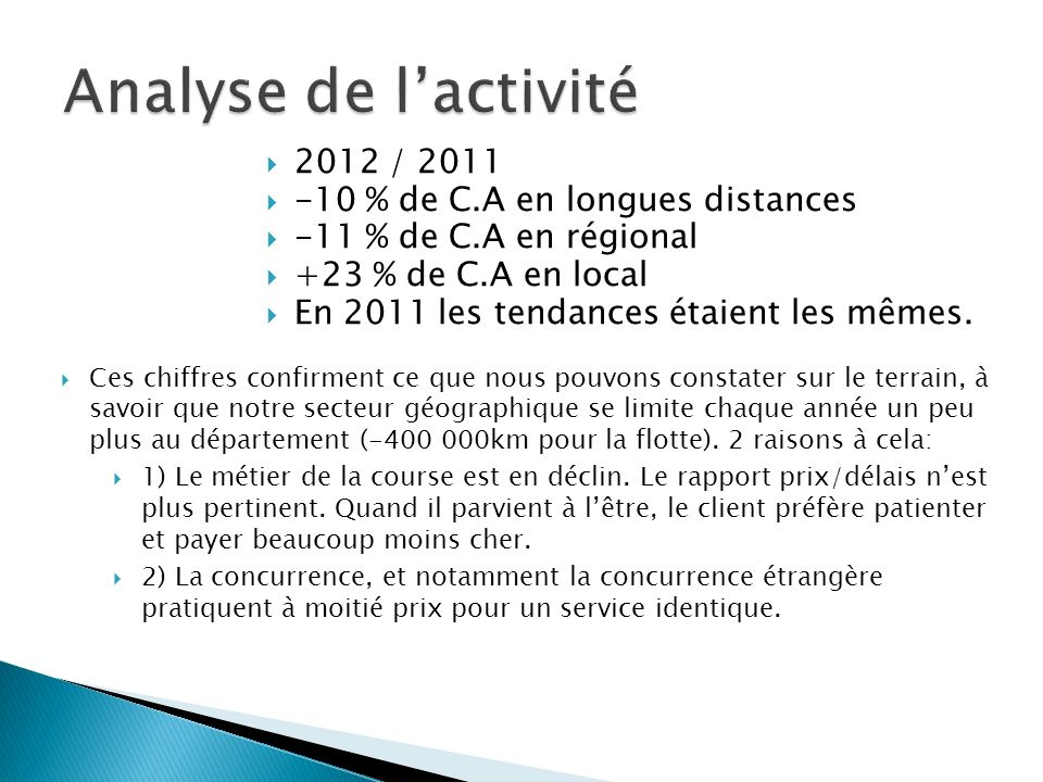 2012 / 2011 -10 % de C.A en longues distances -11 % de C.A en régional +23 % de C.A en local En 2011 les tendances étaient les mêmes.