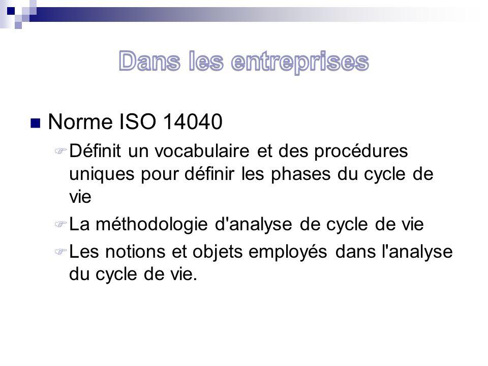 Norme ISO 14040 Définit un vocabulaire et des procédures uniques pour définir les phases du cycle de vie La méthodologie d analyse de cycle de vie Les notions et objets employés dans l analyse du cycle de vie.