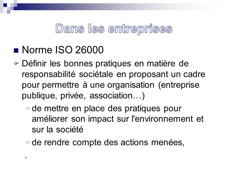 Norme ISO 26000 Définir les bonnes pratiques en matière de responsabilité sociétale en proposant un cadre pour permettre à une organisation (entreprise publique, privée, association…) de mettre en place des pratiques pour améliorer son impact sur l environnement et sur la société de rendre compte des actions menées,.