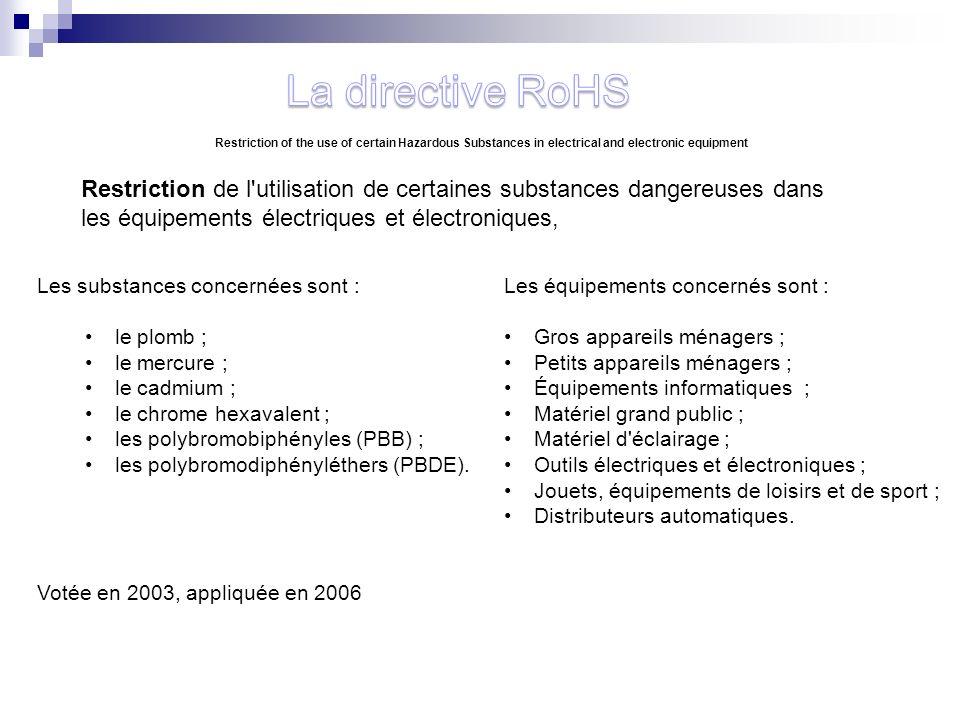 Restriction de l'utilisation de certaines substances dangereuses dans les équipements électriques et électroniques, Les substances concernées sont : l