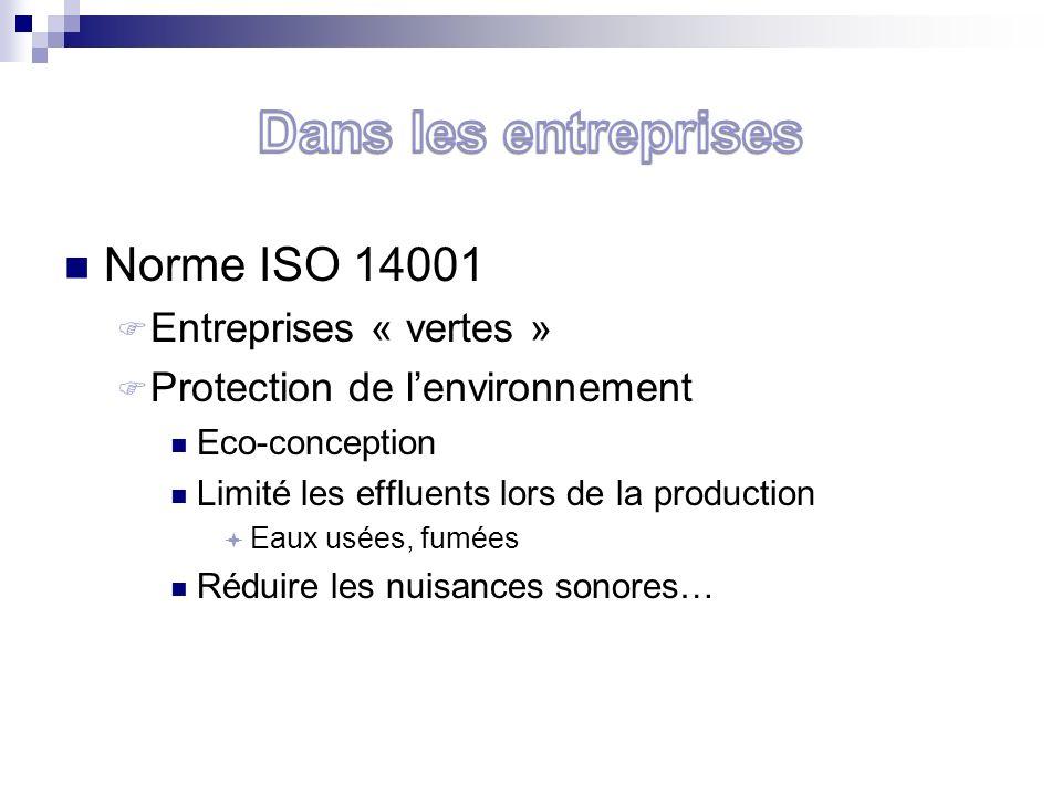 Norme ISO 14001 Entreprises « vertes » Protection de lenvironnement Eco-conception Limité les effluents lors de la production Eaux usées, fumées Réduire les nuisances sonores…