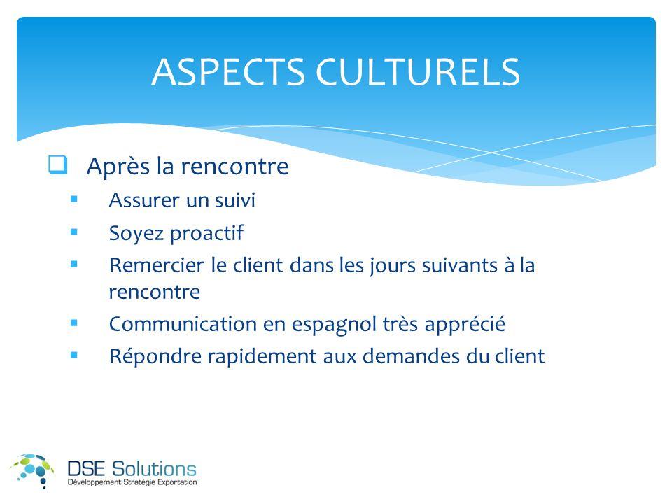 ASPECTS CULTURELS Après la rencontre Assurer un suivi Soyez proactif Remercier le client dans les jours suivants à la rencontre Communication en espagnol très apprécié Répondre rapidement aux demandes du client