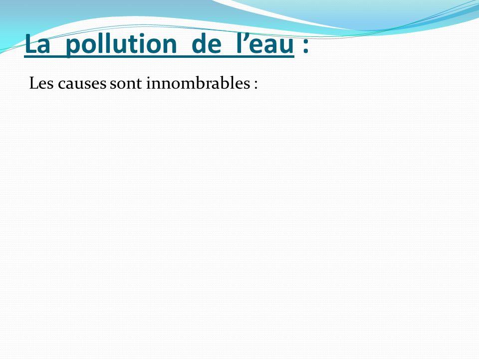 La pollution de leau : Les causes sont innombrables :