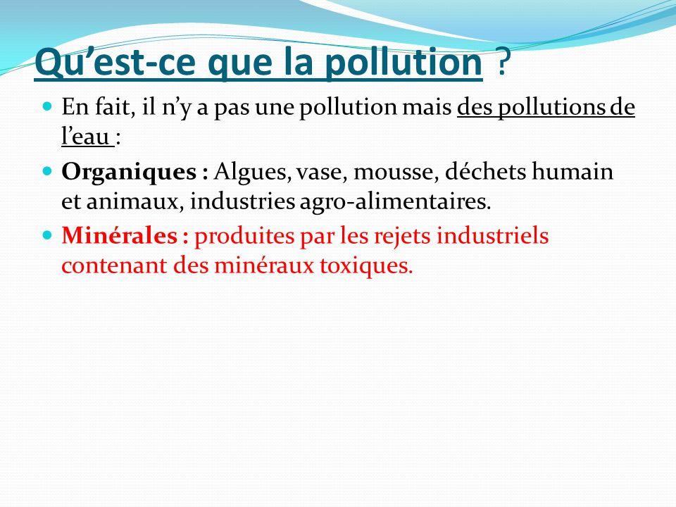 Quest-ce que la pollution ? En fait, il ny a pas une pollution mais des pollutions de leau : Organiques : Algues, vase, mousse, déchets humain et anim