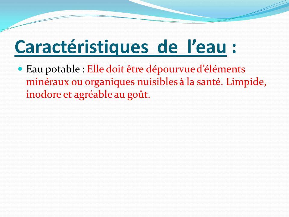 Caractéristiques de leau : Eau potable : Elle doit être dépourvue déléments minéraux ou organiques nuisibles à la santé. Limpide, inodore et agréable