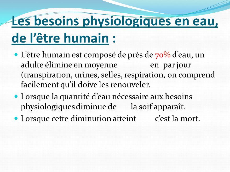 Les besoins physiologiques en eau, de lêtre humain : Lêtre humain est composé de près de 70% deau, un adulte élimine en moyenne en par jour (transpira