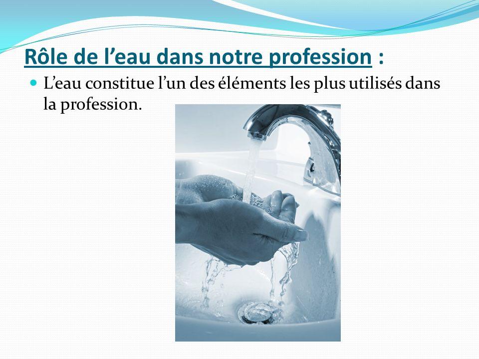 Rôle de leau dans notre profession : Leau constitue lun des éléments les plus utilisés dans la profession.