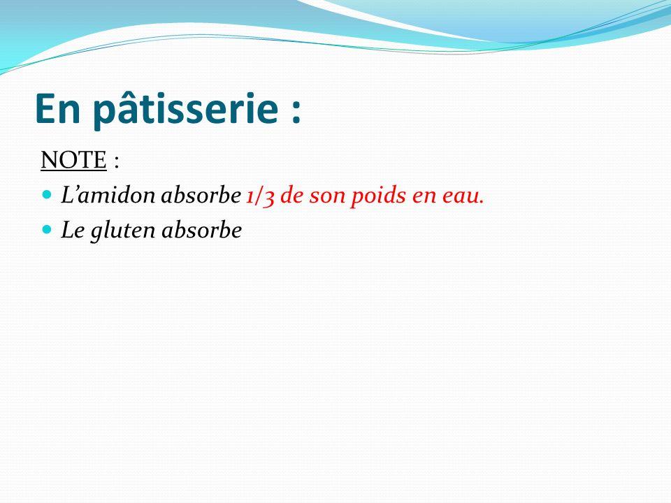 En pâtisserie : NOTE : Lamidon absorbe 1/3 de son poids en eau. Le gluten absorbe