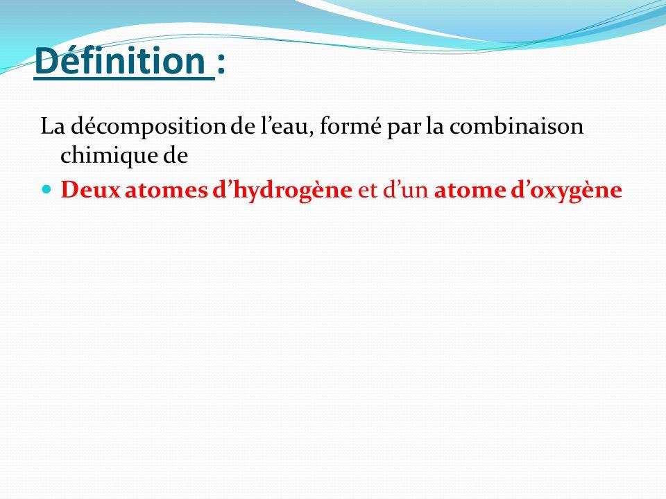 Définition : La décomposition de leau, formé par la combinaison chimique de Deux atomes dhydrogène et dun atome doxygène
