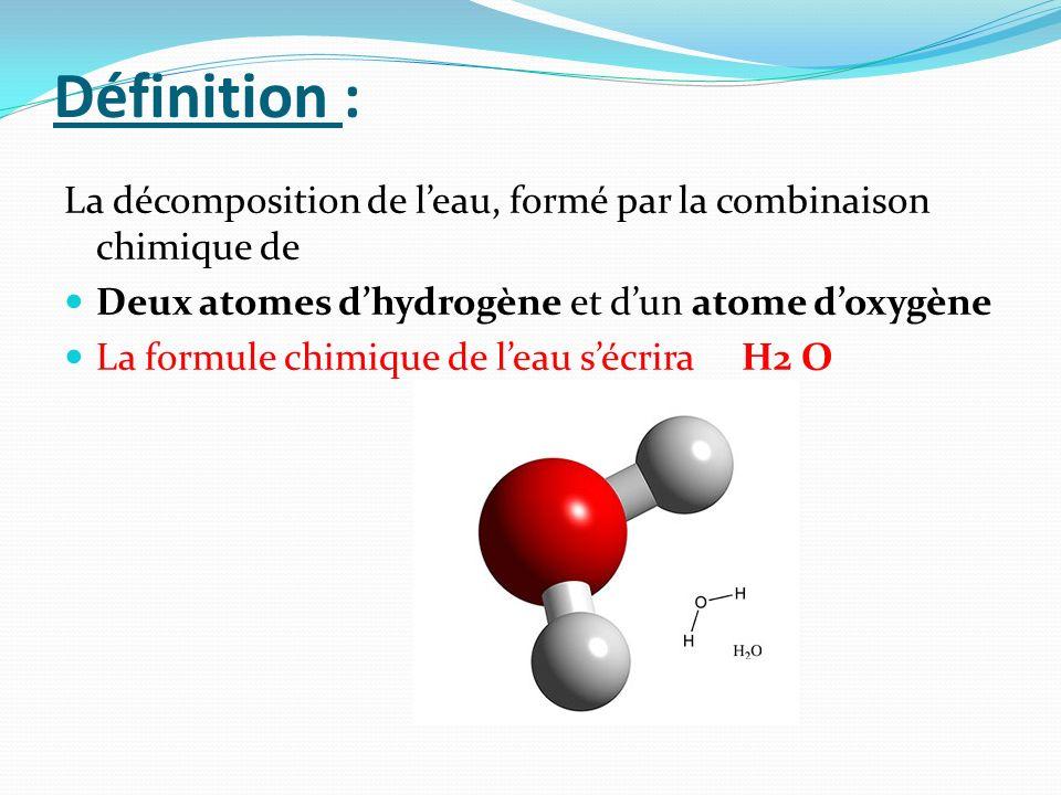 Définition : La décomposition de leau, formé par la combinaison chimique de Deux atomes dhydrogène et dun atome doxygène La formule chimique de leau s