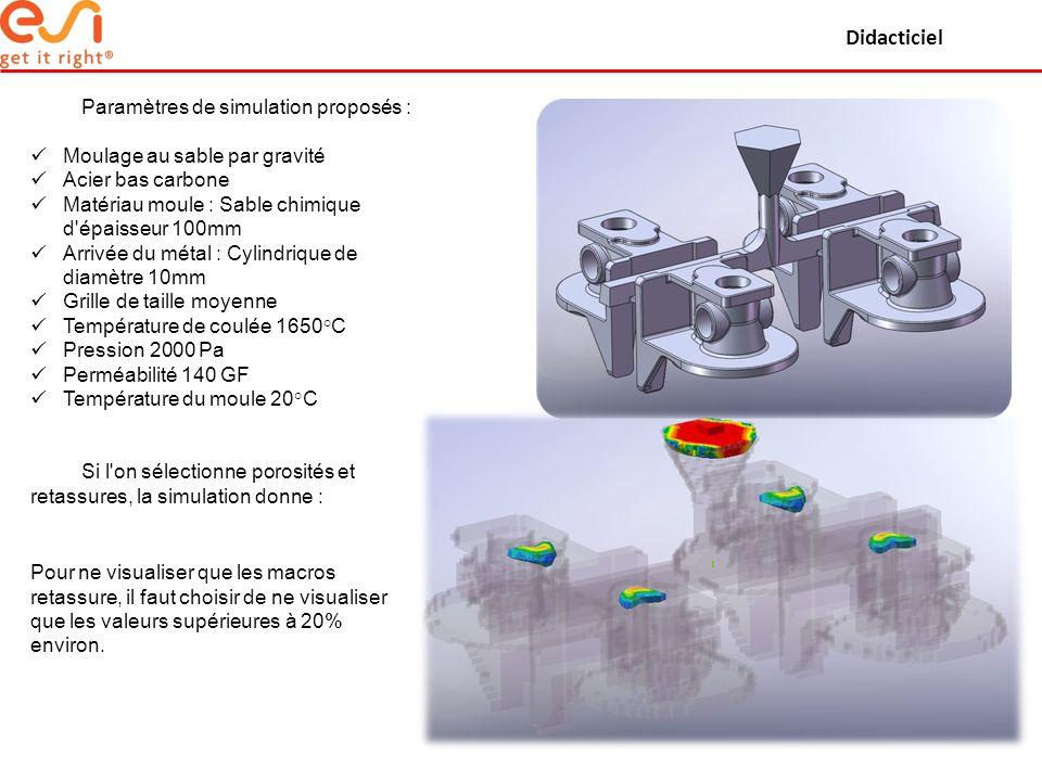 Didacticiel Paramètres de simulation proposés : Moulage au sable par gravité Acier bas carbone Matériau moule : Sable chimique d'épaisseur 100mm Arriv