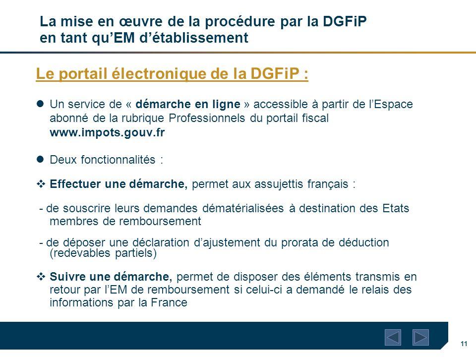 11 La mise en œuvre de la procédure par la DGFiP en tant quEM détablissement Le portail électronique de la DGFiP : Un service de « démarche en ligne »