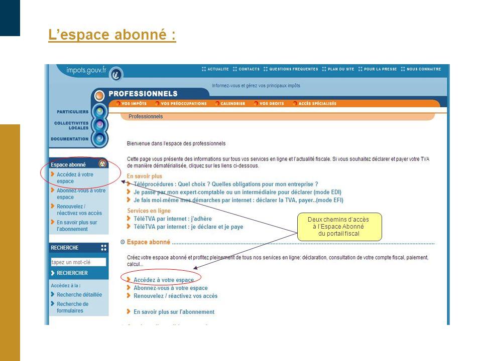 Lespace abonné : Deux chemins daccès à lEspace Abonné du portail fiscal