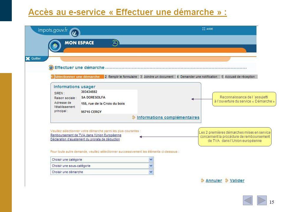 15 Accès au e-service « Effectuer une démarche » : Reconnaissance de l assujetti à louverture du service « Démarche » Les 2 premières démarches mises