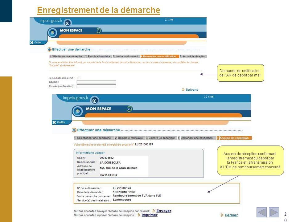 Enregistrement de la démarche 20 Demande de notification de lAR de dépôt par mail Accusé de réception confirmant lenregistrement du dépôt par la Franc