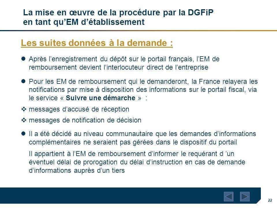 22 La mise en œuvre de la procédure par la DGFiP en tant quEM détablissement Les suites données à la demande : Après lenregistrement du dépôt sur le p