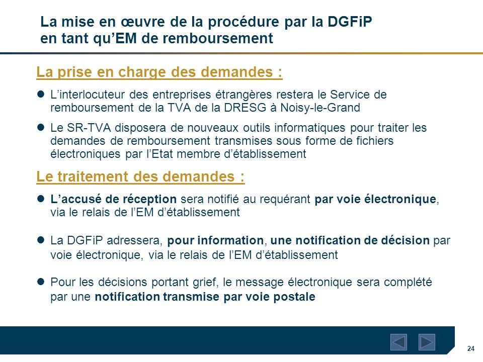 24 La mise en œuvre de la procédure par la DGFiP en tant quEM de remboursement La prise en charge des demandes : Linterlocuteur des entreprises étrang