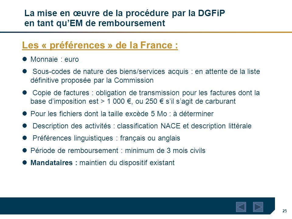 25 La mise en œuvre de la procédure par la DGFiP en tant quEM de remboursement Les « préférences » de la France : Monnaie : euro Sous-codes de nature