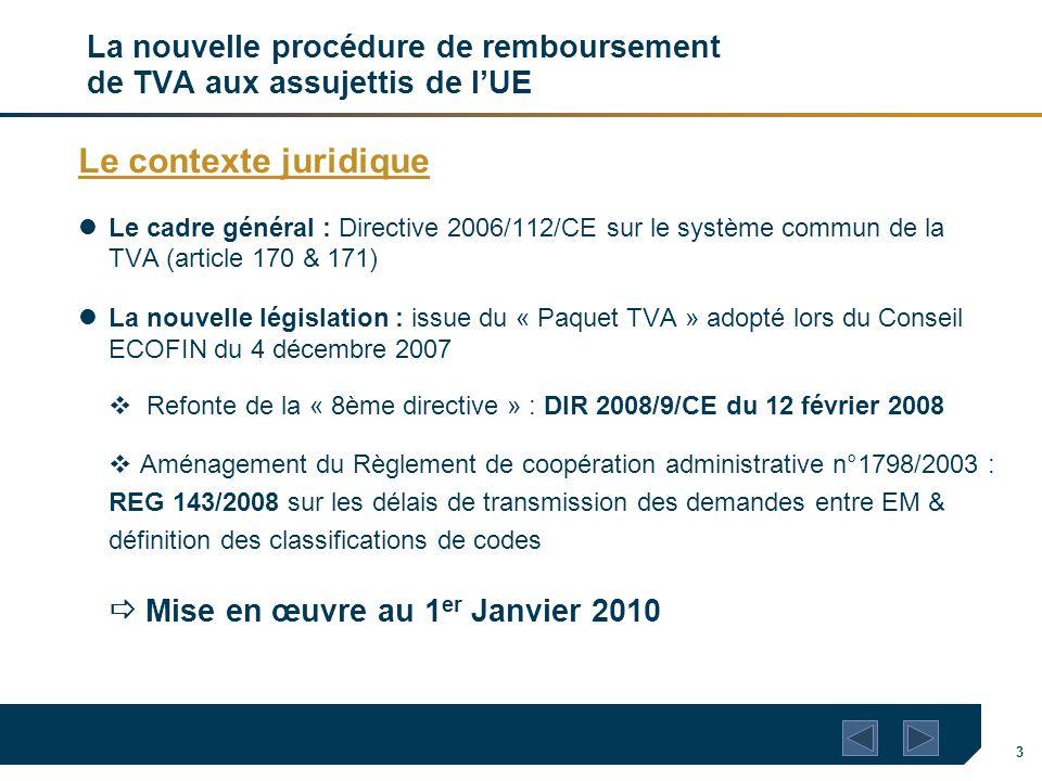3 La nouvelle procédure de remboursement de TVA aux assujettis de lUE Le contexte juridique Le cadre général : Directive 2006/112/CE sur le système co